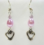 Lavendar Pearl and Heart Earrings